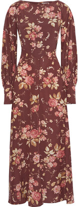 Zimmermann Unbridled Basque Floral-print Stretch-silk Maxi Dress