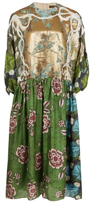 Biyan Algo Embroidered Floral-print Silk-blend Dress - Green Multi