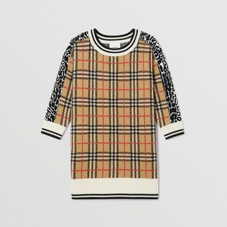 Burberry Check and Leopard Merino Wool Sweater Dress