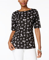 Karen Scott Elbow-Sleeve Printed Boatneck Top, Created for Macy's