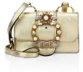 Miu Miu Crystal-Embellished Madras Metallic Leather Shoulder Bag
