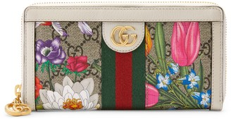Gucci Ophidia GG Flora zip around wallet