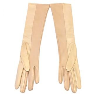 Fendi Pink Leather Gloves