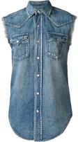 Saint Laurent sleeveless denim shirt - women - Cotton/Linen/Flax - M