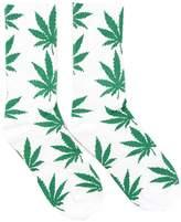 Spring Fever Unisex Marijuana Weed Leaf Printed Crew Socks(White/Green)