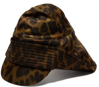 1ba0e2e95 Animal Print Technical Twill Rain Hat - Mens - Khaki Multi