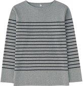 Uniqlo Men Washed Striped Boat Neck Long Sleeve T-Shirt