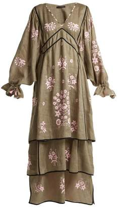 Pigeon Vita Kin - Spanish Embroidered Linen Dress - Womens - Khaki Multi