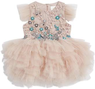 Mischka Aoki Embellished Ruffle Tulle Dress