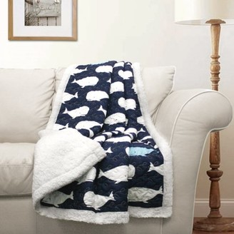 Lush Decor Whale Sherpa Reverse Throw for Kids
