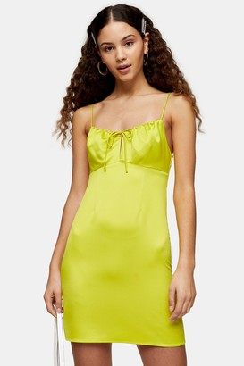 Topshop Womens Neon Yellow Gathered Bust Slip Dress - Yellow