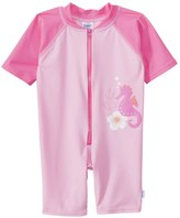 I Play Girls' Pink Seahorse One Piece UV Zip Sunsuit (6mos3T) - 8114115