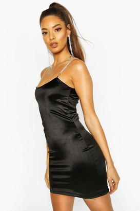 boohoo Diamante Strap Bodycon Mini Dress