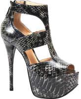 Luichiny Women's Western Sky - Black Imi Snake High Heels