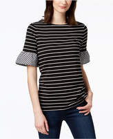 Charter Club Gingham-Trim T-Shirt, Created for Macy's