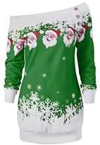 HOT SALE, AIMTOPPY Womens Merry Christmas Santa Snowflake Print Tops Long Sleeve Long Blouse Shirt (Green, L2)