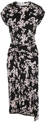 Paco Rabanne Black Floral-print Jersey Midi Dress