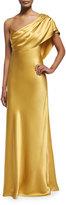 Cushnie et Ochs Draped One-Shoulder Silk Gown, Gold
