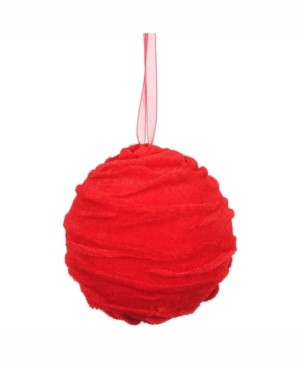 "Vickerman 4"" Styrofoam Ball Ornament Wrapped With Red Cloth"