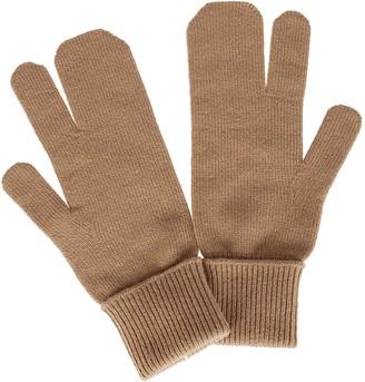 Maison Margiela Brown Wool-cashmere Blend Tabi Gloves
