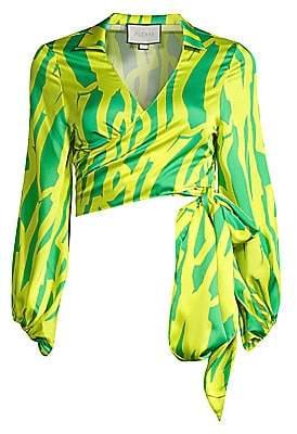 Alexis Women's Nolla Two-Tone Satin Tie-Waist Crop Top
