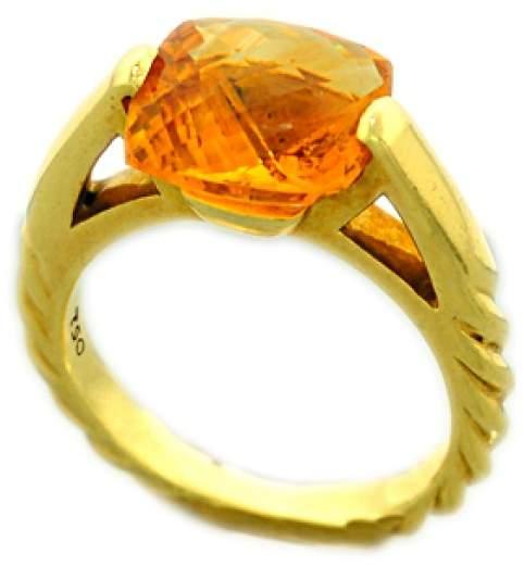 David Yurman 18K Yellow Gold Citrine Fashion Deco Ring