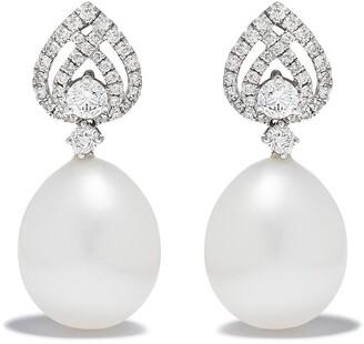 Kiki McDonough 18kt White Gold Lotus Pear Diamond Detail Pearl Earrings
