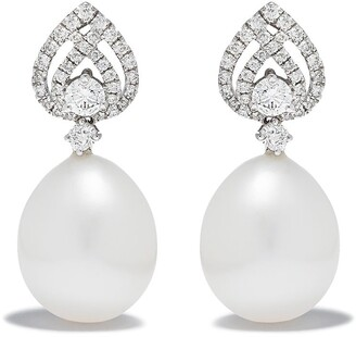 Kiki McDonough 18kt white gold Pearls tiered pearl diamond detail pearl earrings