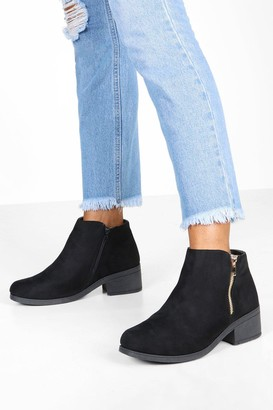 boohoo Wide Fit Zip Side Chelsea Boots