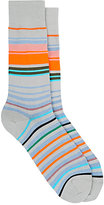 Paul Smith Men's Town-Striped Mid-Calf Socks-GREY