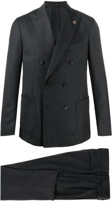 Lardini Striped Double-Breasted Suit