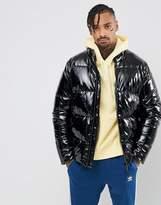 Asos Vinyl Puffer Jacket In Black