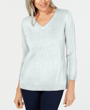 Karen Scott Plus Size Luxsoft V-Neck Top, Created for Macy's