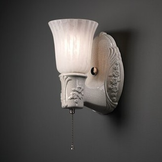 Red Barrel Studio Spenser Heirloom Oval 1 Light Wall Sconce + Uplight Glass Shade Finish: Bisque, Shade Color: Faux Alabaster, Metal Finish: Brass