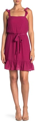 Love Squared Solid Ruffled Tie Waist Gauze Dress
