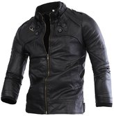 West Bank WB Spring and Autumn Men's Fashion Slim Wear Motorcycle Leather Outerwear Jacket Coat