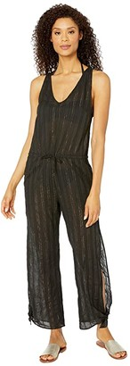 La Blanca Lurex Stripe Jumpsuit Cover-Up (Black) Women's Jumpsuit & Rompers One Piece