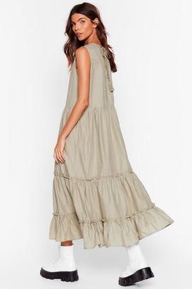 Nasty Gal Womens Tier I Go Again Ruffle Midi Dress - Sage