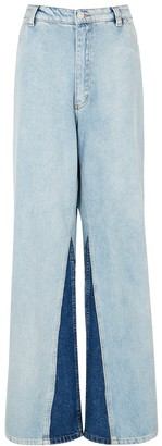 Natasha Zinko Blue Panelled Wide-leg Jeans