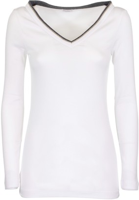 Brunello Cucinelli Stretch Cotton Ribbed Jersey T-shirt With Shiny Contrast Trim