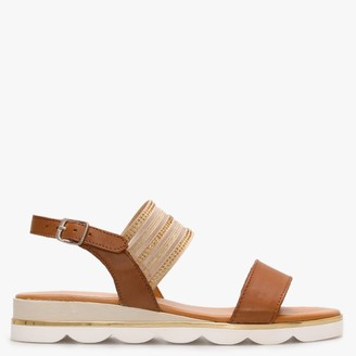 Daniel Lacey Tan Leather Embellished Two Strap Sandals