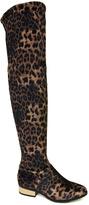 Bamboo Leopard Velvet Stardom Over-the-Knee Boot