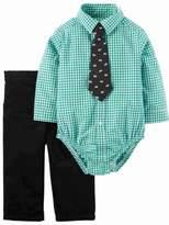 Carter's Infant Boys 3-Piece Green Plaid Bodysuit Baby Bear Tie & Corduroy Pants
