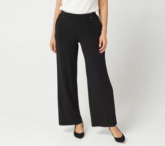 Susan Graver Regular Liquid Knit Pull-On Pants w/ Buckle Trim