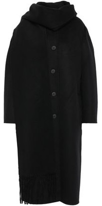 Sandro Maria Tie-neck Wool And Cotton-blend Felt Coat