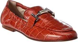Tod's TodS Double T Croc-Embossed Leather Loafer