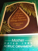 Hallmark 1985 Keepsake 'Mother is the Heart of Our Happiest Holiday Memories' Acrylic ornament QX372-2