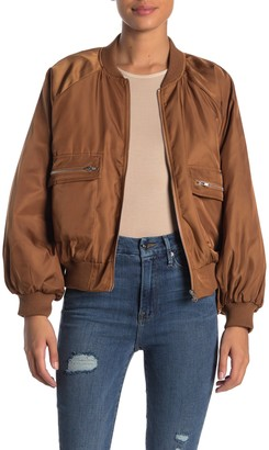 Know One Cares Puff Sleeve Bomber Jacket