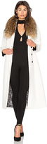 Soia & Kyo Chanelle Coat with Asiatic Raccoon Fur Trim