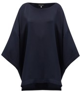 eskandar Boat-neck Oversized Silk-crepe T-shirt - Womens - Navy